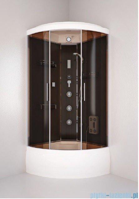Sea Horse Hydro kabina natryskowa narożna z hydromasażem  90x90  szkło: brązowe   BK201 + brodzik z syfonem