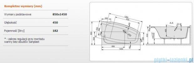 Sanplast Free Line Wanna asymetryczna prawa+stelaż WAP/FREE 145x85+ST26, 610-040-0570-01-000
