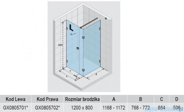 Riho Kabina prysznicowa Scandic Lift M204 120x80x200 cm LEWA GX0805701