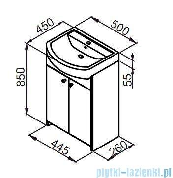 Aquaform Maxi II szafka podumywalkowa 50cm biały 0401-260103