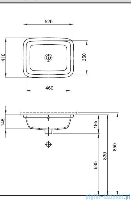 Koło Style Umywalka 52cm podblatowa bez otworu L21846000