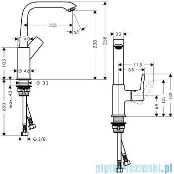 Hansgrohe Metris Jednouchwytowa bateria umywalkowa 230mm DN15 31081000