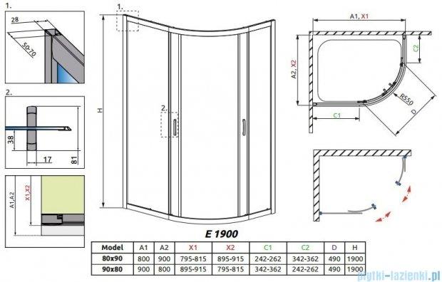 Radaway Premium Plus E Kabina prysznicowa 90x80 szkło grafitowe 30492-01-05N