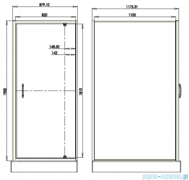 Omnires S kabina prostokątna 90x120x190cm szkło przejrzyste S-90/120KTR