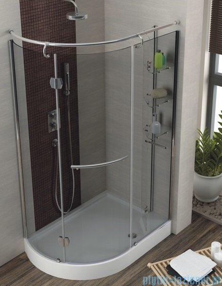 Aquaform Etna kabina prysznicowa 120x85cm Lewa szkło grigio+brodzik+syfon 14099