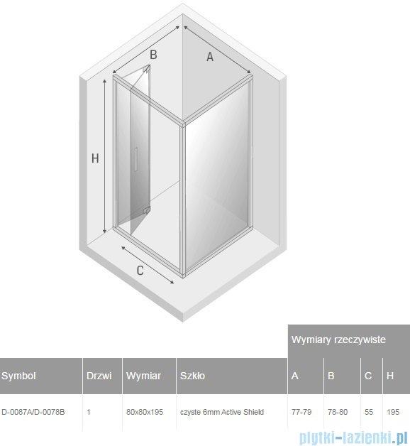New Trendy Alta kabina kwadratowa 80x80cm przejrzyste D-0087A/D-0078B