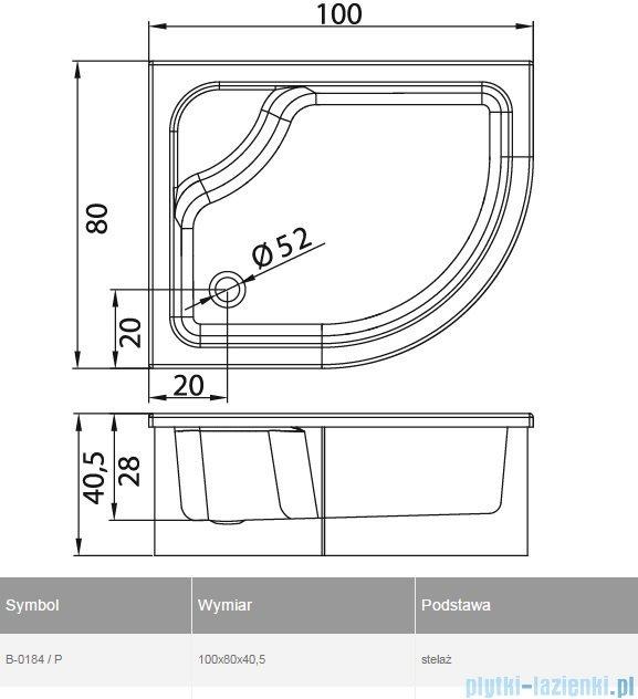 New Trendy Maxima brodzik asymetryczny z siedziskiem prawy 100x80 B-0184/P