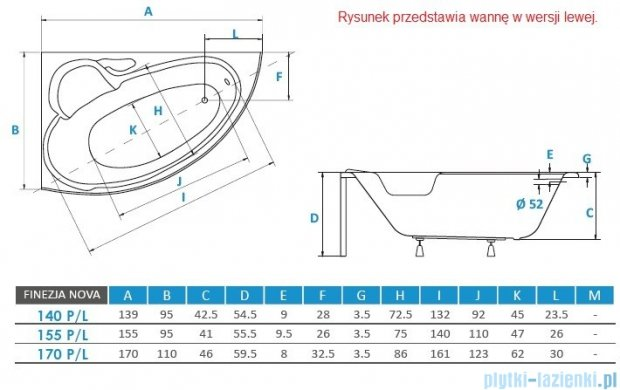 Piramida Finezja 140x95cm Wanna asymetryczna Prawa FIN140P