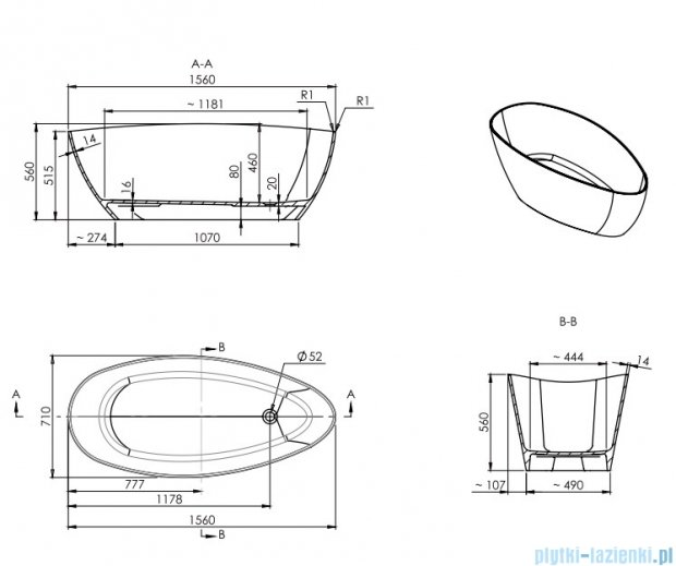 Omnires Barcelona wanna 156x71cm wolnostojąca biało-czarna mat Marble+Barcelona156CM