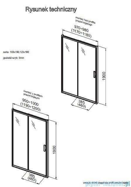 Aquaform Supra Pro drzwi wnękowe 120cm przejrzyste 103-09328