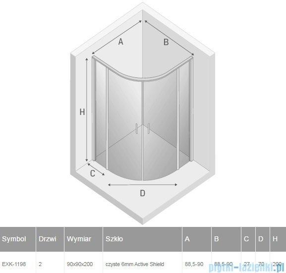 New Trendy Perfecta kabina półokrągła R55 90x90x200cm przejrzyste EXK-1198