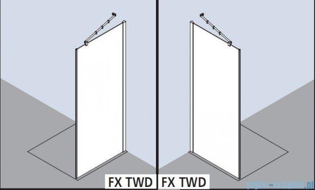Kermi Filia Xp Ściana boczna z profilem przyściennym, szkło przezroczyste z KermiClean, profile srebrne 100x200cm FXTWD10020VPK