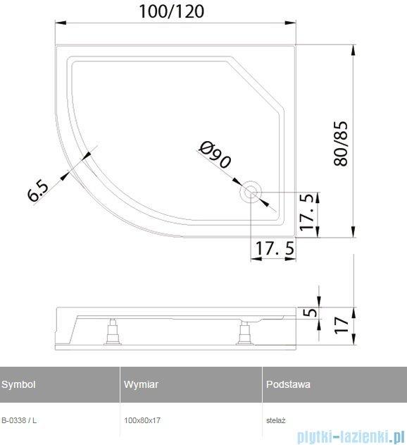 New Trendy New Maxima brodzik asymetryczny 100x80x17cm lewy B-0338/L