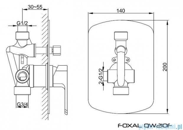 Kohlman Foxal podtynkowa bateria wannowo-prysznicowa z dwoma wyjściami QW210F