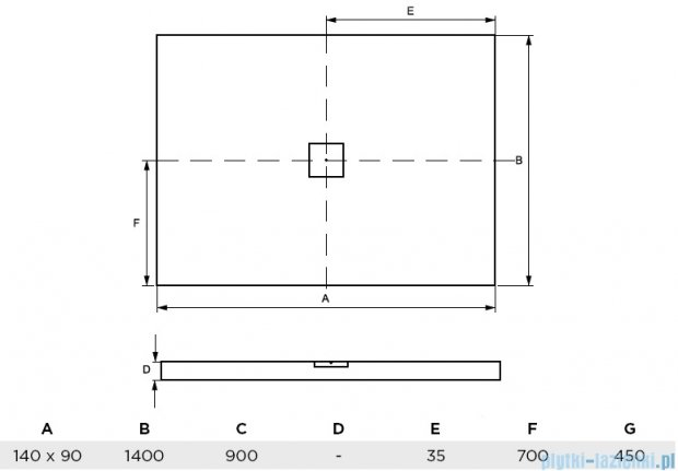 Besco Nox ultraslim black 140x90cm brodzik prostokątny czarny/czarny BMN140-90-CC