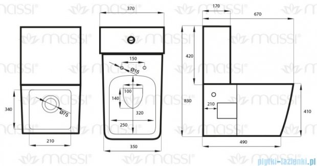 Massi Tringo zestaw Wc kompakt biały MSK-2208ADU