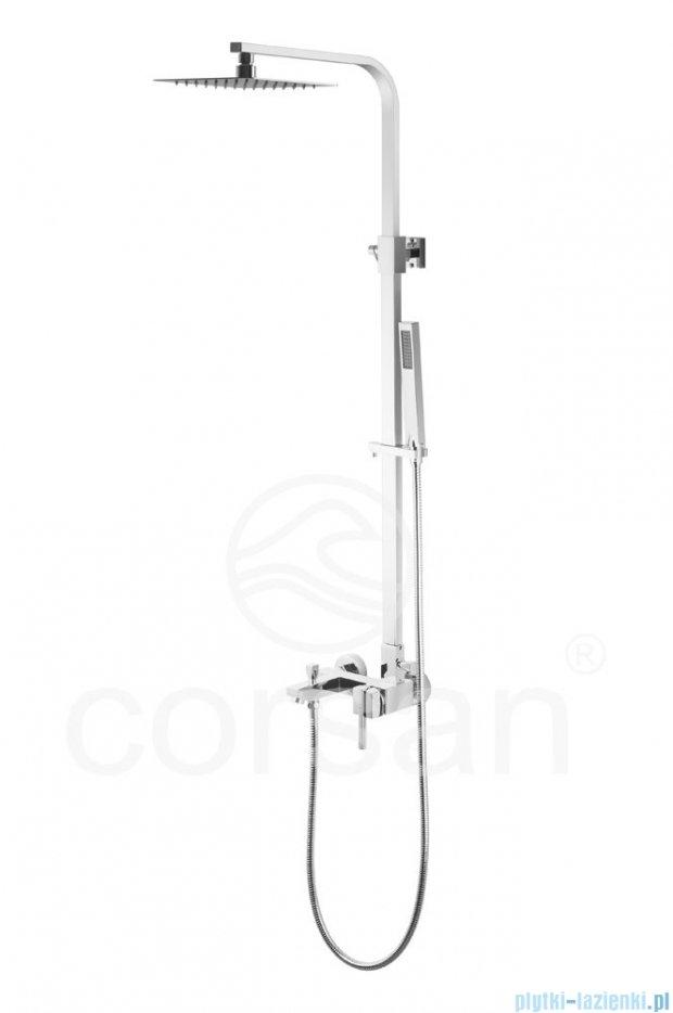 Corsan Quadra UltraSlim kolumna prysznicowa z wylewką chrom SC-8029