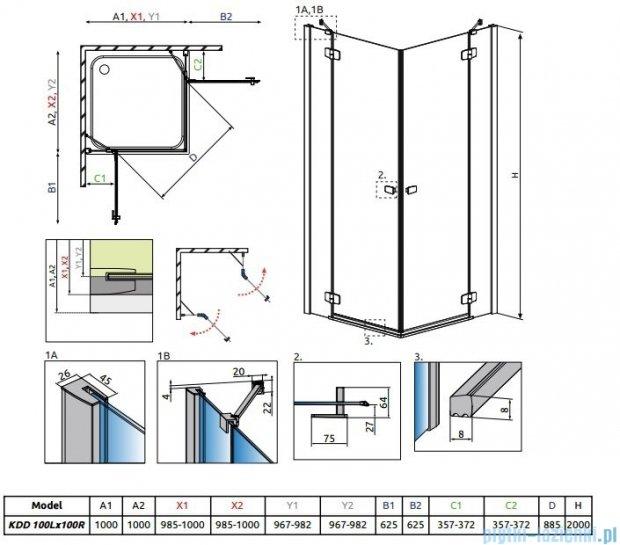 Radaway Fuenta New Kdd kabina 100x100cm szkło przejrzyste 384062-01-01L/384062-01-01R