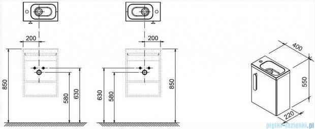 Ravak Drzwi szafki SD 400 Chrome R biały połysk, prawe X000000541
