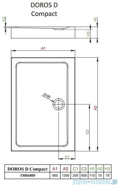 Radaway Doros D Compact brodzik prostokątny 130x90x11,5cm SDRD1390-05