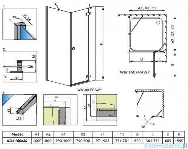 Radaway Almatea Kdj Kabina prostokątna 100x80 Prawa szkło przejrzyste + Brodzik Doros D + syfon 32142-01-01NR