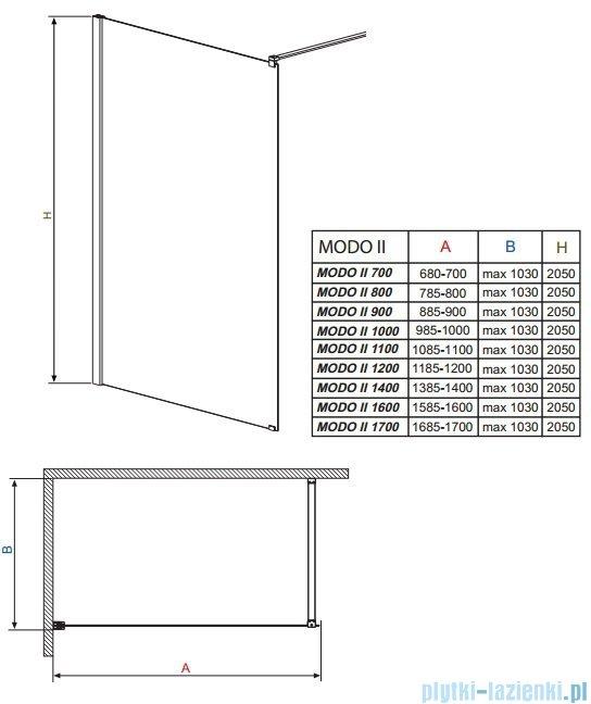 Radaway Modo II kabina Walk-in 140x205 przejrzyste 352144-01-01N