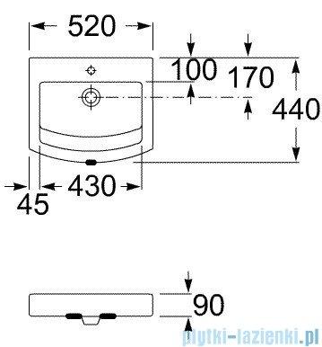Roca Hall Umywalka nablatowa 52x44cm z otworem na baterię A32788200H