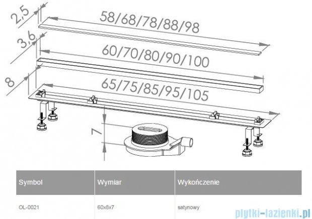 New Trendy Lux Slim odpływ liniowy 60x8x7cm satyna OL-0021