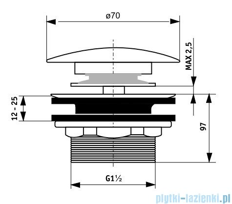 Deante Click-Clack korek okrągły do brodzika duży NHC 021A