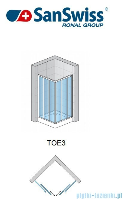 SanSwiss Top-Line TOE3 Wejście narożne 3-częściowe 70cm profil połysk Lewe TOE3G07005007