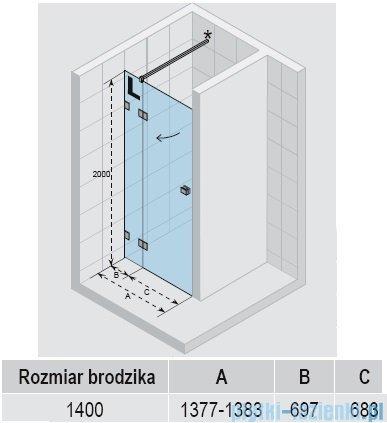 Riho Scandic Lift M104 drzwi prysznicowe 140x200 cm PRAWE GX0070402