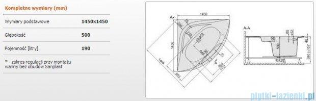 Sanplast Altus Wanna symetryczna+stelaż WS-ALT/EX 145x145+SP, 610-120-0660-01-000