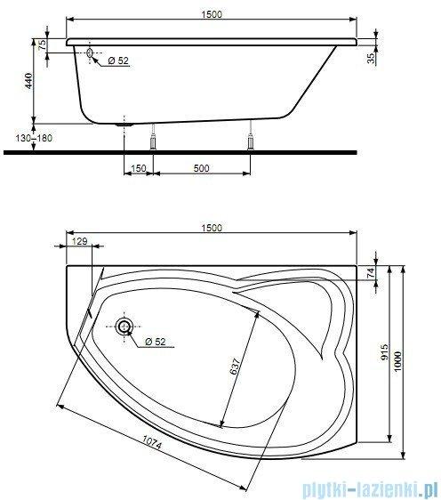 Koło Agat Wanna asymetryczna 150x100cm Prawa XWA0950