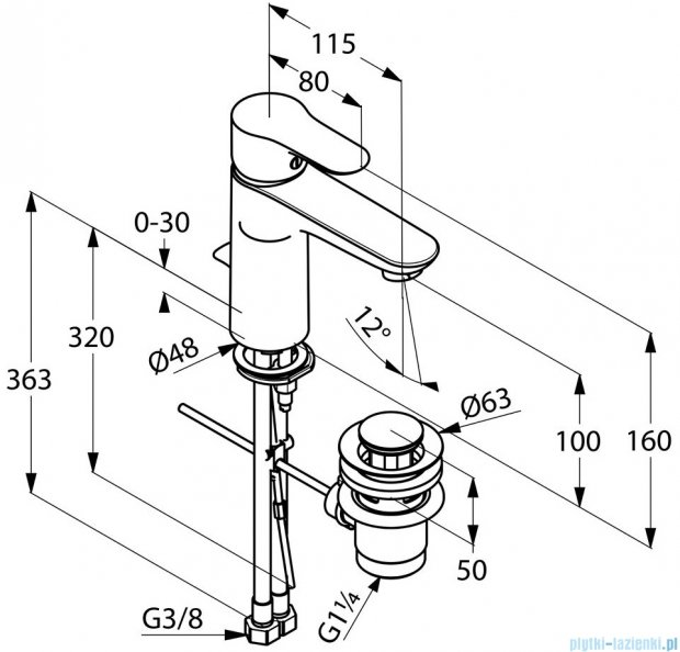 Kludi Objekta Xl Jednouchwytowa bateria umywalkowa DN 10 chrom 322600575
