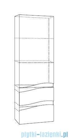 Antado Wave słupek z szufladami lewy 40x31,5x150cm biały połysk VA-160/2L-WS