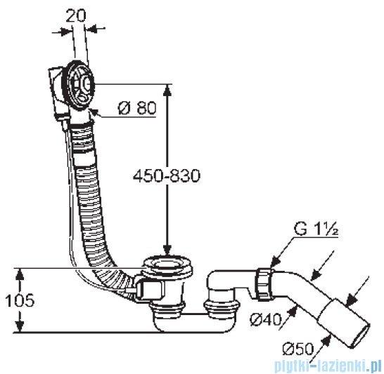 Kludi Rotexa 2000 Zestaw odpływowo-przelewowy G1 1/2 chrom 213530000