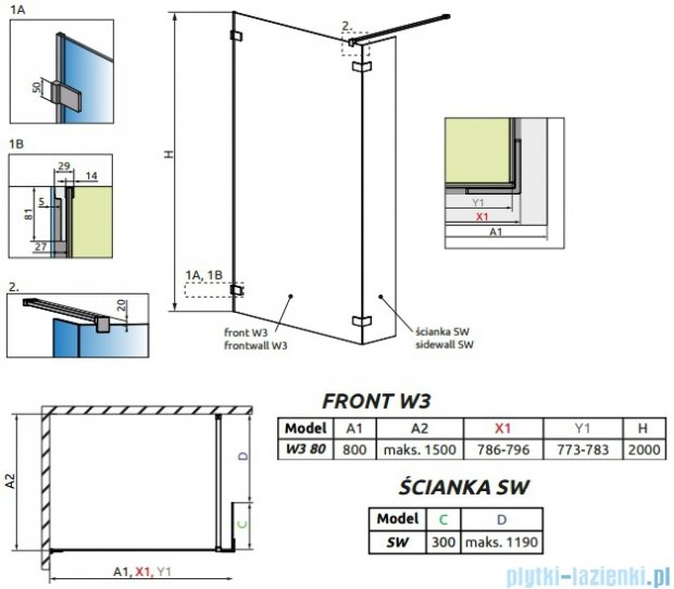 Radaway Euphoria Walk-in II kabina 80cm szkło przejrzyste 383130-01-01/383160-01-01