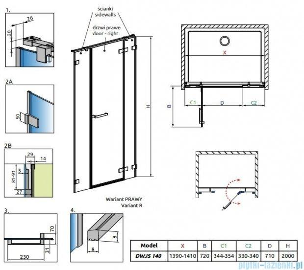 Radaway Arta Dwjs drzwi wnękowe 140cm prawe szkło przejrzyste 386456-03-01R/386122-03-01R