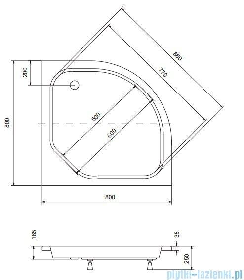 Sea Horse Sigma zestaw kabina natryskowa półokrągła niska 80x80cm A2+brodzik chrom BKZ1/3/KB/A2