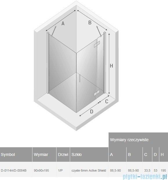 New Trendy New Renoma kabina kwadratowa 90x90x195 cm przejrzyste prawa D-0114A/D-0084B
