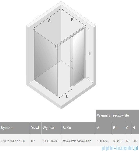 New Trendy Porta kabina prostokątna prawa 140x100cm przejrzyste EXK-1138/EXK-1196