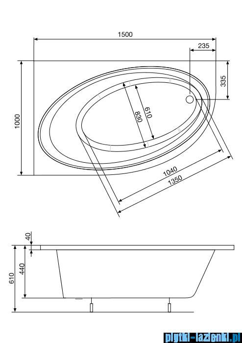 Roca Orbita wanna 150x100cm lewa z hydromasażem Effects Titanium A24T208000