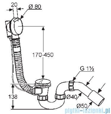 Kludi Rotexa 2000 Zestaw odpływowo-przelewowy G 1 1/2 chrom 2130005N00