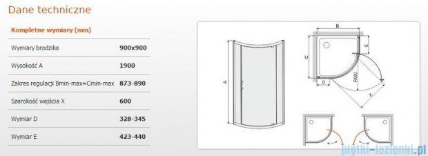 Sanplast kabina półokrągła narożna KP1DJ/TX5-90 szkło przezroczyste 600-271-0410-38-401