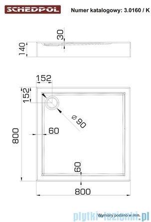 Schedpol Competia Brodzik akrylowy z nośnikiem 80x80x14cm 3.0160