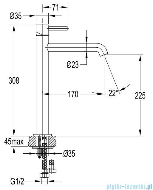 Omnires Y bateria umywalkowa sztorcowa wysoka chrom Y1212