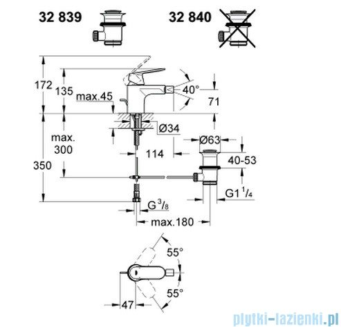 Grohe Eurosmart Cosmopolitan jednouchwytowa bateria bidetowa DN 15 32839000