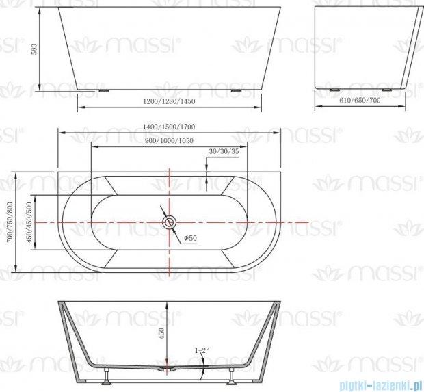 Massi Wall 150 wanna wolnostojąca przyścienna 150x75cm biała MSWA-6815B