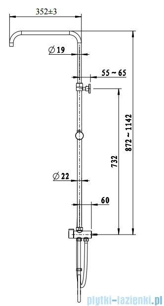 Omnires UNI uniwersalny system prysznicowy z przełącznikiem mosiężnym chrom UN10042