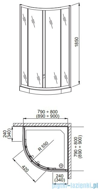 Aquaform Lazuro kabina prysznicowa okrągła 90cm szkło brick profil chrom 06567